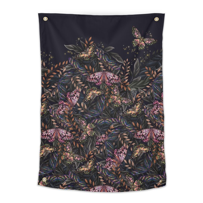 Butterfly by Night Home Tapestry by littlepatterns by Maggie Enterrios