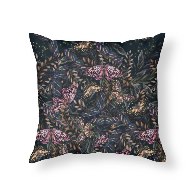Butterfly by Night Home Throw Pillow by littlepatterns by Maggie Enterrios