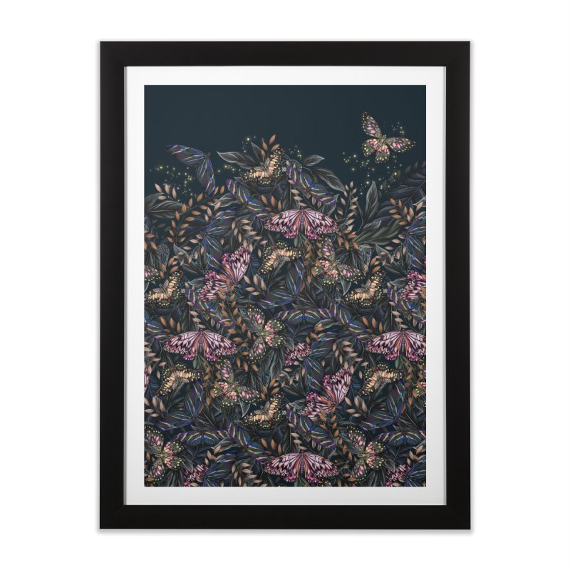 Butterfly by Night Home Framed Fine Art Print by littlepatterns by Maggie Enterrios