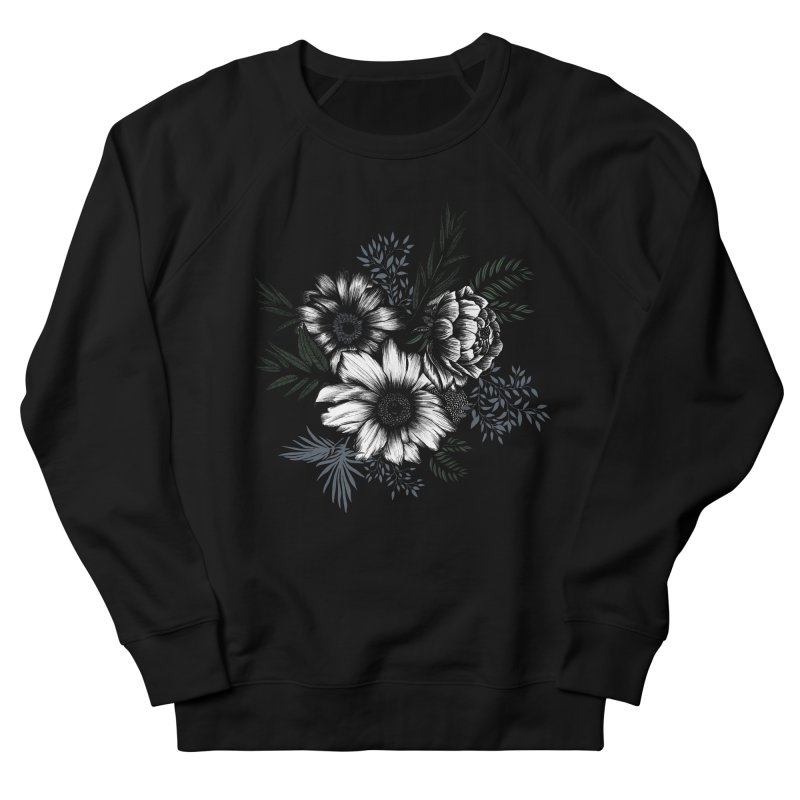 Classic Floral in Women's French Terry Sweatshirt Black by littlepatterns by Maggie Enterrios