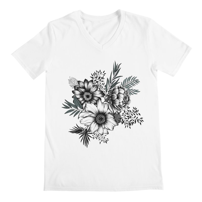 Classic Floral (light) Men's V-Neck by littlepatterns by Maggie Enterrios