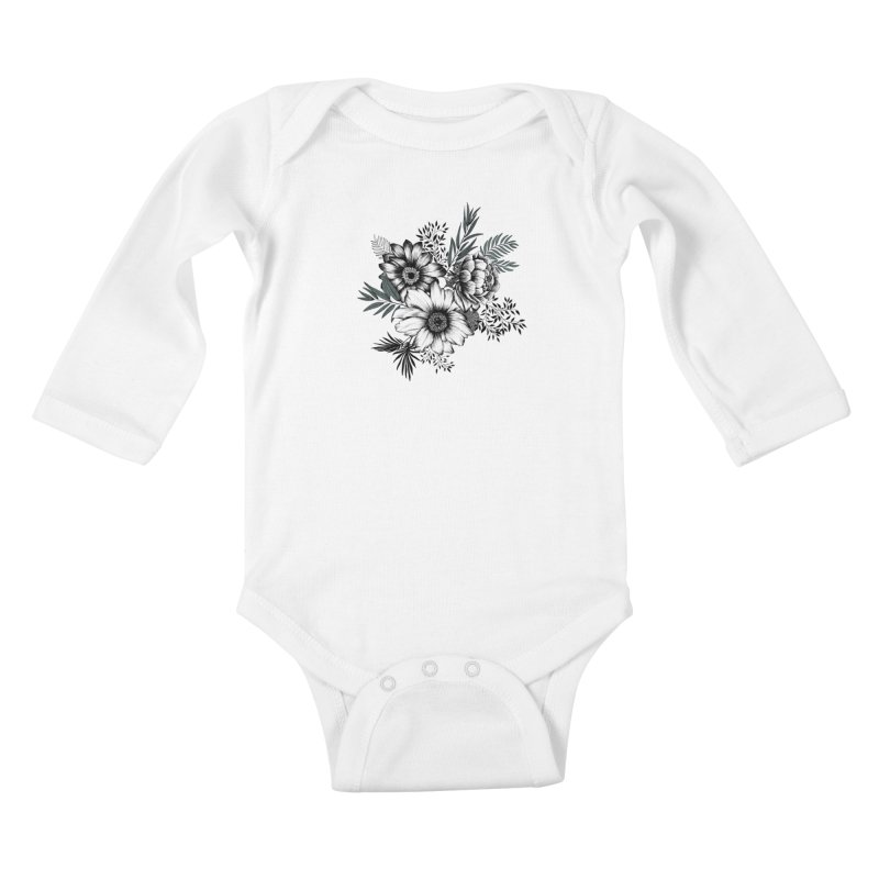 Classic Floral (light) Kids Baby Longsleeve Bodysuit by littlepatterns by Maggie Enterrios