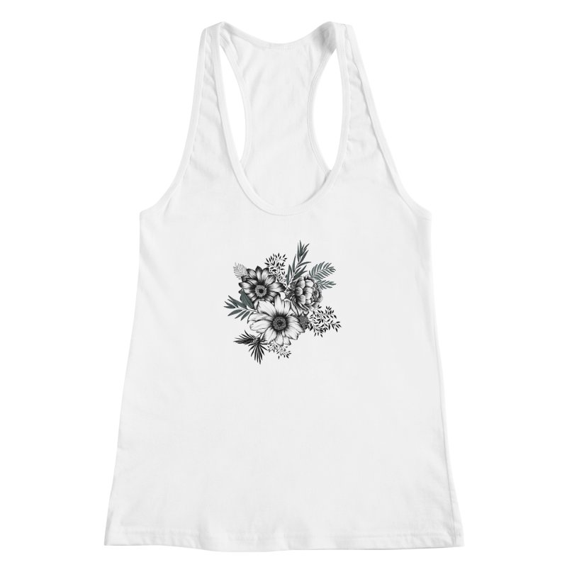 Classic Floral (light) Women's Racerback Tank by littlepatterns by Maggie Enterrios