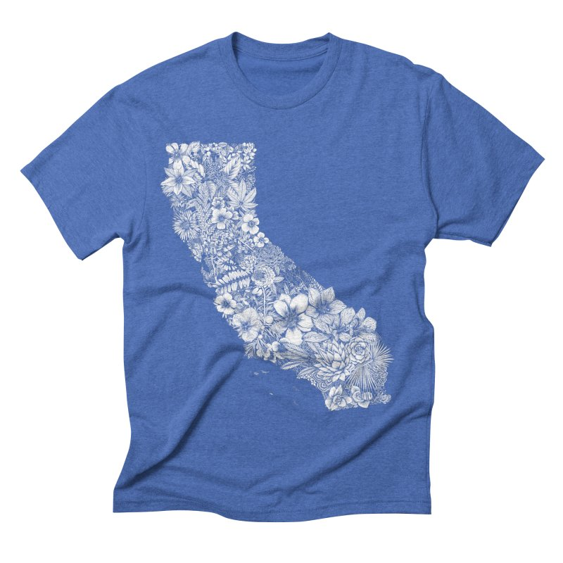 California Native in Men's Triblend T-shirt Blue Triblend by littlepatterns by Maggie Enterrios