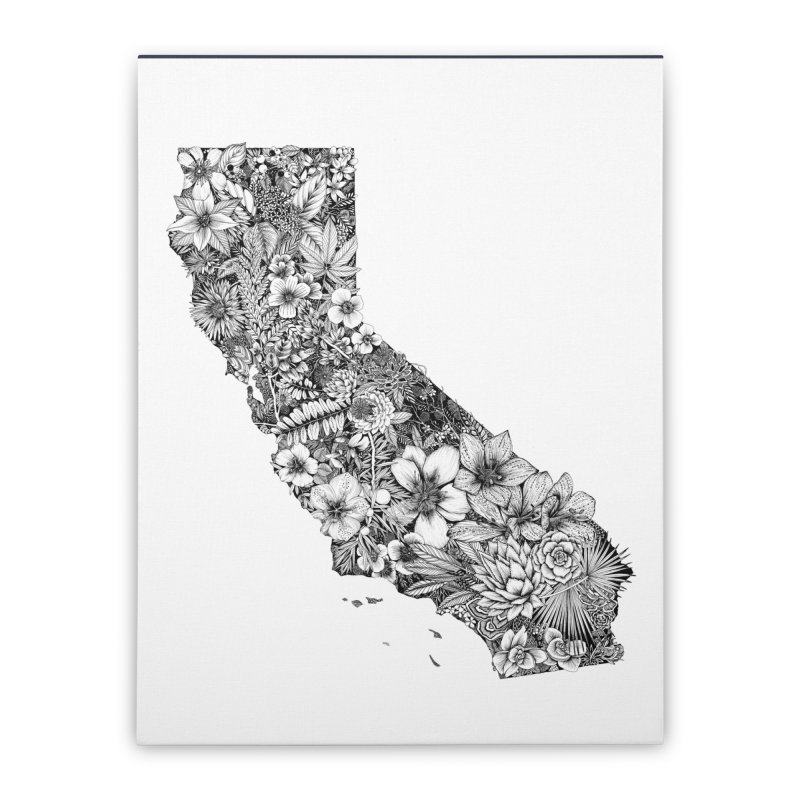 California Native Home Stretched Canvas by littlepatterns by Maggie Enterrios