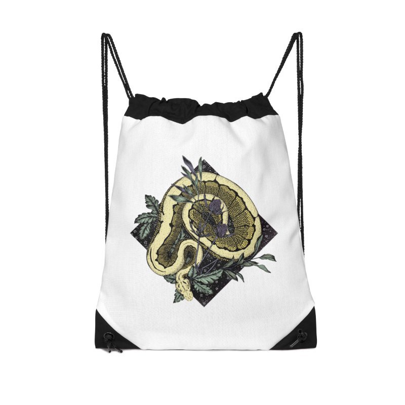 Slither and Hiss Accessories Drawstring Bag Bag by littlepatterns by Maggie Enterrios