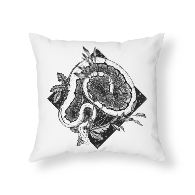 Slither and Hiss Home Throw Pillow by littlepatterns by Maggie Enterrios