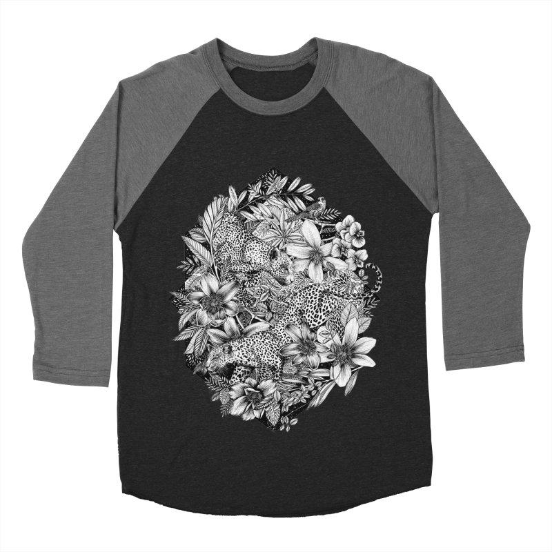 Leopard Print Men's Baseball Triblend Longsleeve T-Shirt by littlepatterns by Maggie Enterrios
