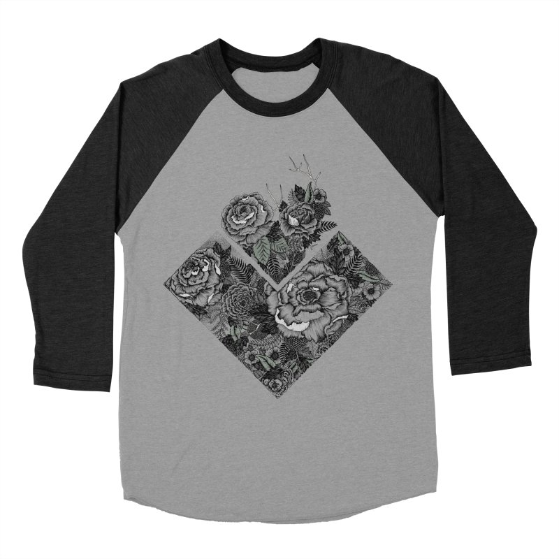 Exploding Garden Women's Baseball Triblend Longsleeve T-Shirt by littlepatterns by Maggie Enterrios
