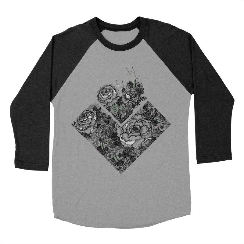 Exploding Garden Men's Baseball Triblend Longsleeve T-Shirt by littlepatterns by Maggie Enterrios