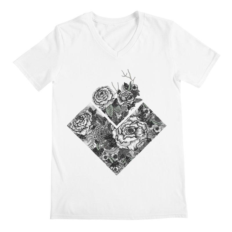 Exploding Garden Men's Regular V-Neck by littlepatterns by Maggie Enterrios