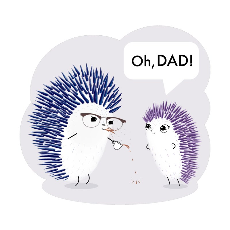 """""""Oh, DAD!"""": Little Hedgehog and her Dad Men's T-Shirt by Little Stories for Tiny People's Shop"""