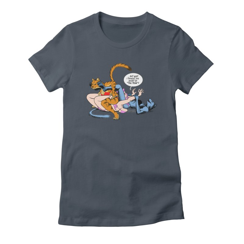 Tag Team Catfight Women's T-Shirt by Live Nude Ghouls Artist Shop