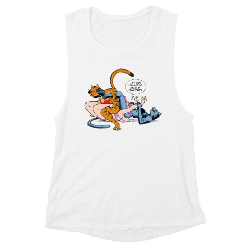Tag Team Catfight Women's Muscle Tank by Live Nude Ghouls Artist Shop