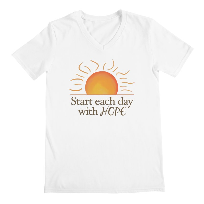 Start Each Day With Hope Men's Regular V-Neck by Livy's Hope Shop