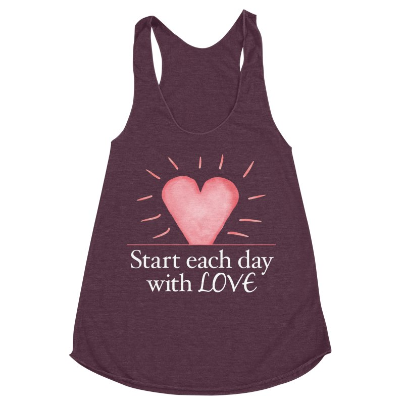 Start Each Day With Love Women's Racerback Triblend Tank by Livy's Hope Shop