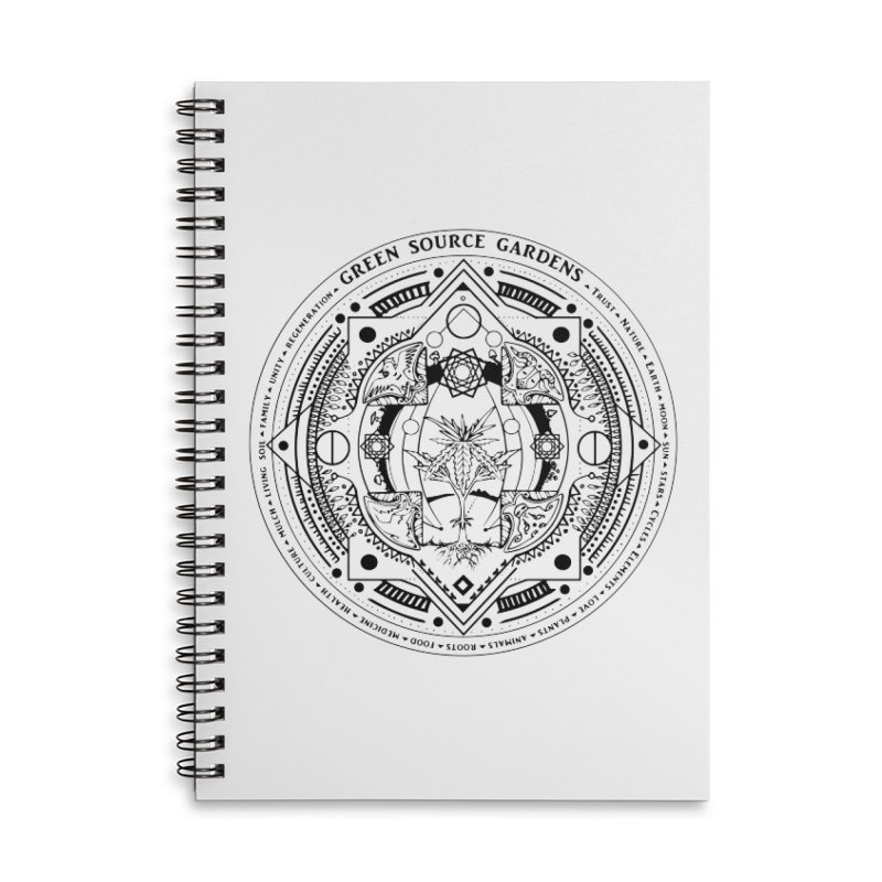 Canna Mandala (black ink) Accessories Notebook by Green Source Gardens