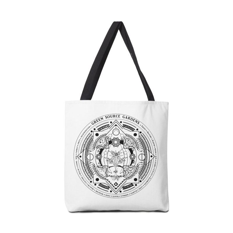 Canna Mandala (black ink) Accessories Tote Bag Bag by Green Source Gardens