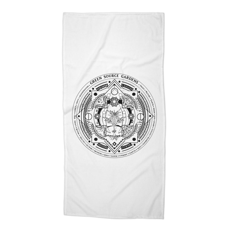 Canna Mandala (black ink) Accessories Beach Towel by Green Source Gardens