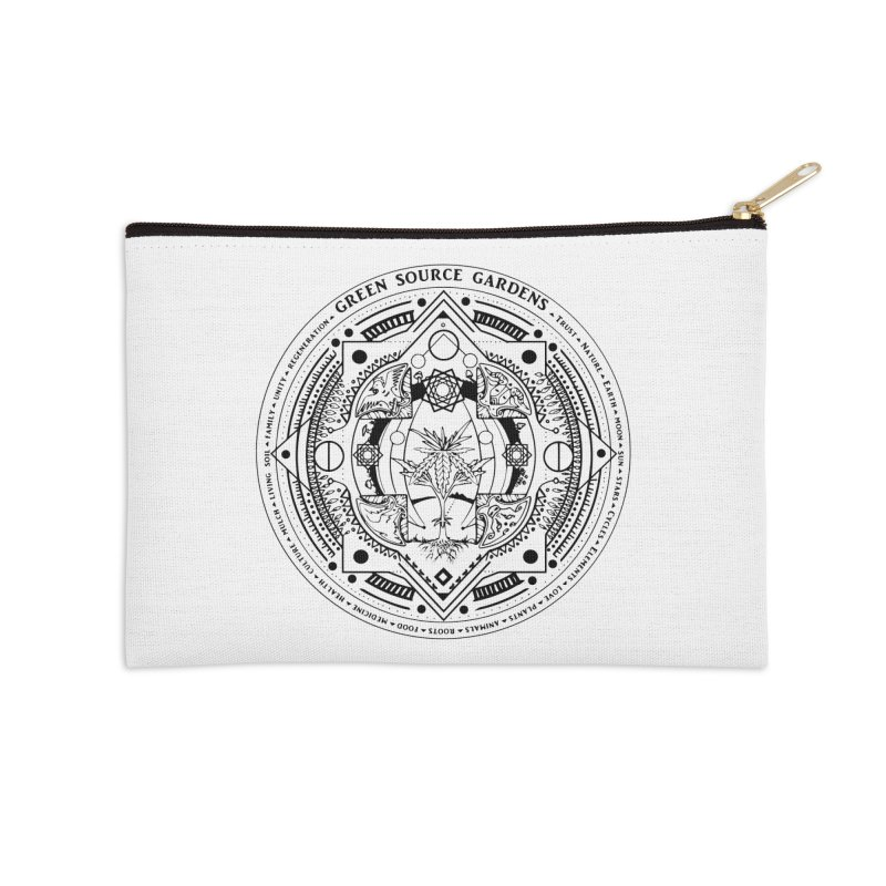 Canna Mandala (black ink) Accessories Zip Pouch by Green Source Gardens
