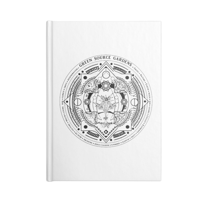 Canna Mandala (black ink) Accessories Lined Journal Notebook by Green Source Gardens