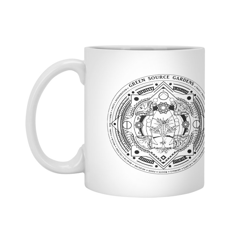 Canna Mandala (black ink) Accessories Mug by Green Source Gardens