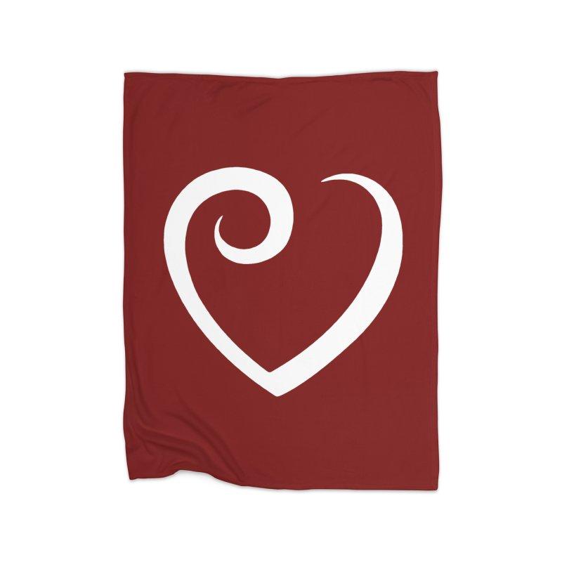 Heart - white Home Blanket by lkmdesigns's Artist Shop