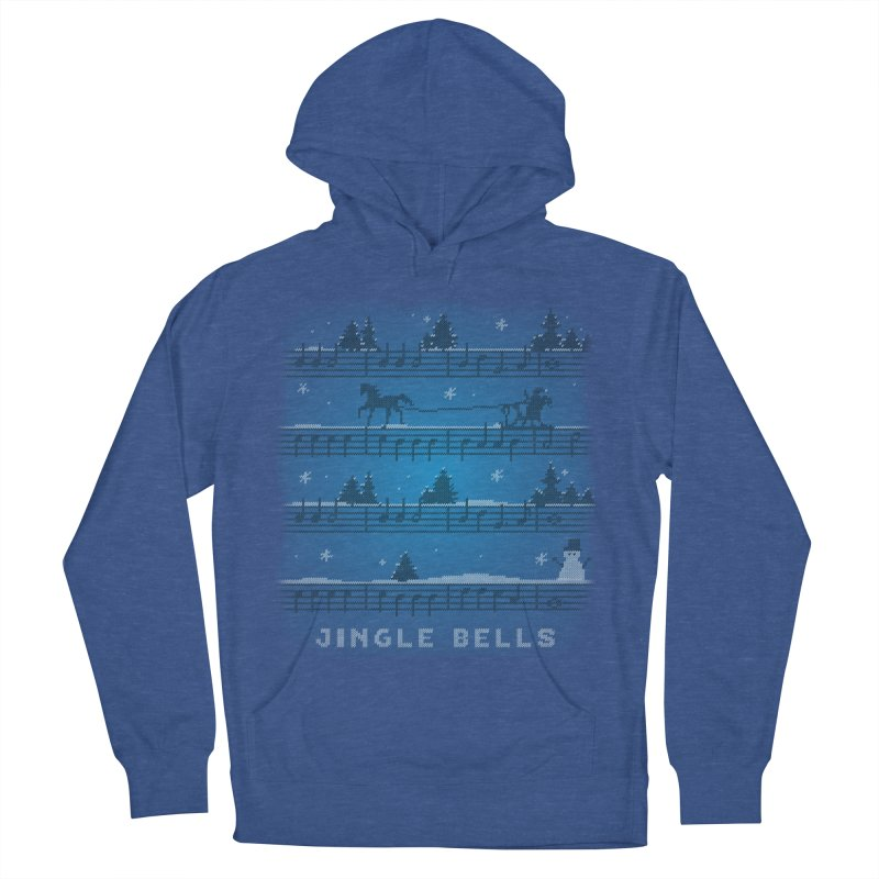 Jingle Bells Knit Women's French Terry Pullover Hoody by LLUMA Creative Design