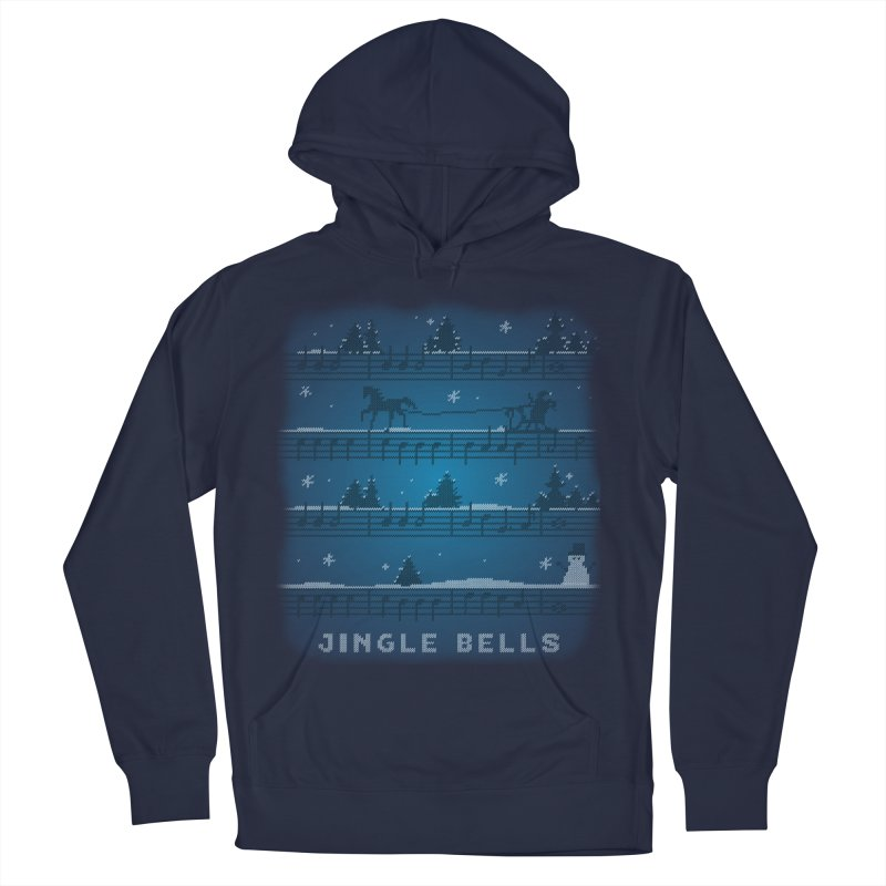 Jingle Bells Knit Men's French Terry Pullover Hoody by LLUMA Creative Design