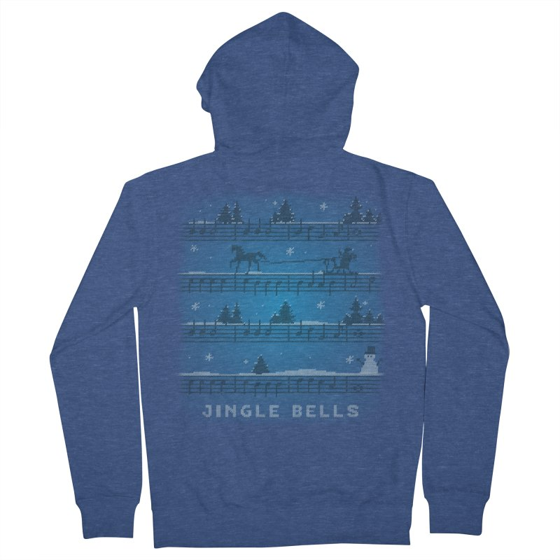 Jingle Bells Knit Women's French Terry Zip-Up Hoody by LLUMA Creative Design