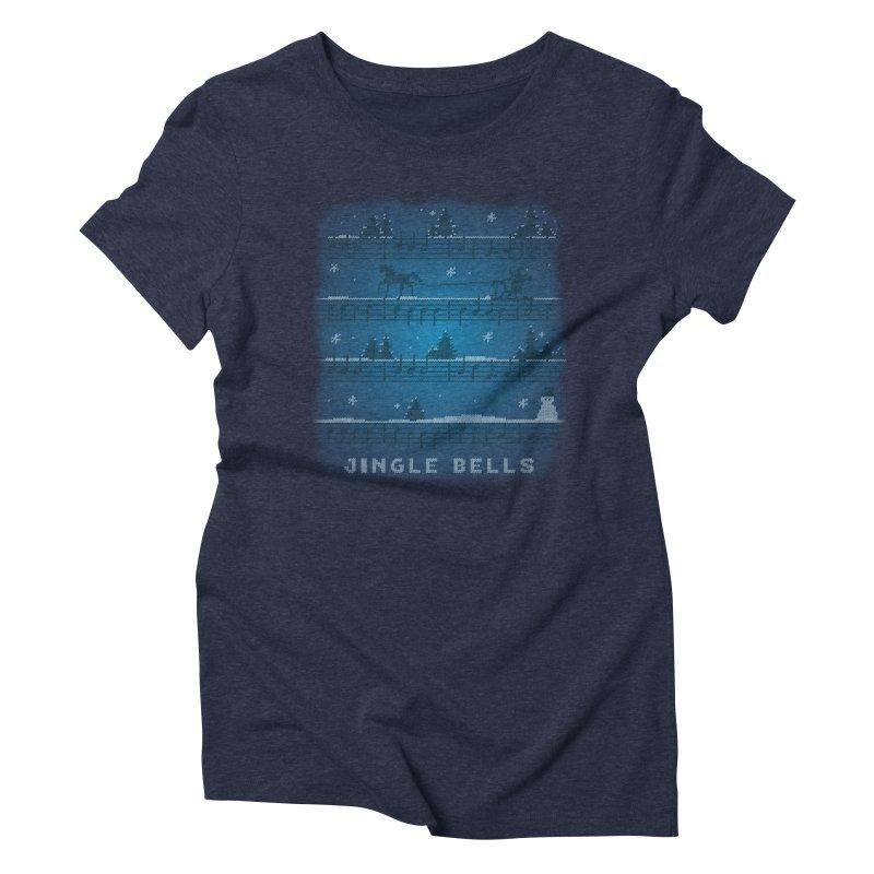 Jingle Bells Knit Women's Triblend T-Shirt by LLUMA Design