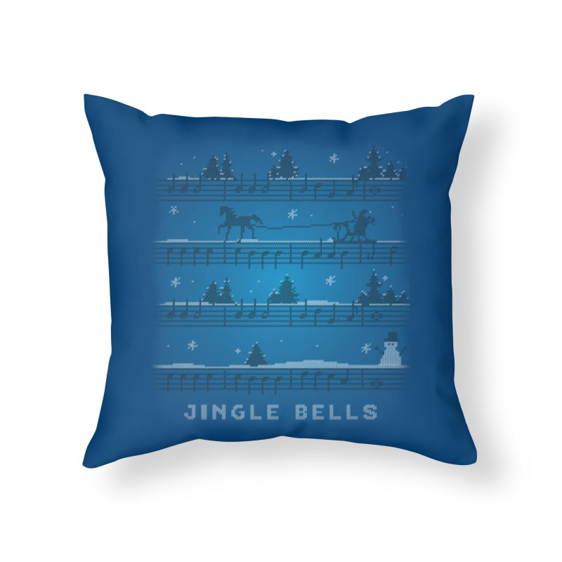 Jingle Bells Knit Home Throw Pillow by LLUMA Creative Design