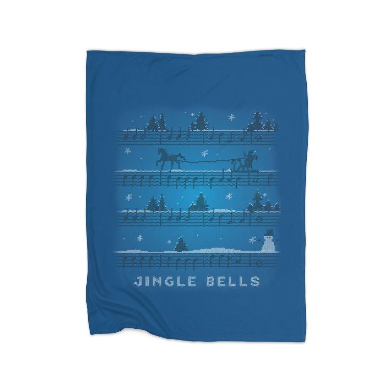 Jingle Bells Knit Home Fleece Blanket Blanket by LLUMA Creative Design