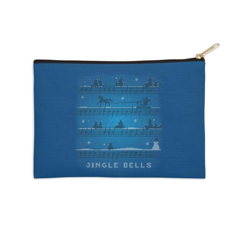 Jingle Bells Knit Accessories Zip Pouch by LLUMA Design