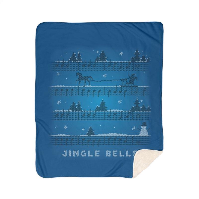 Jingle Bells Knit Home Sherpa Blanket Blanket by LLUMA Creative Design
