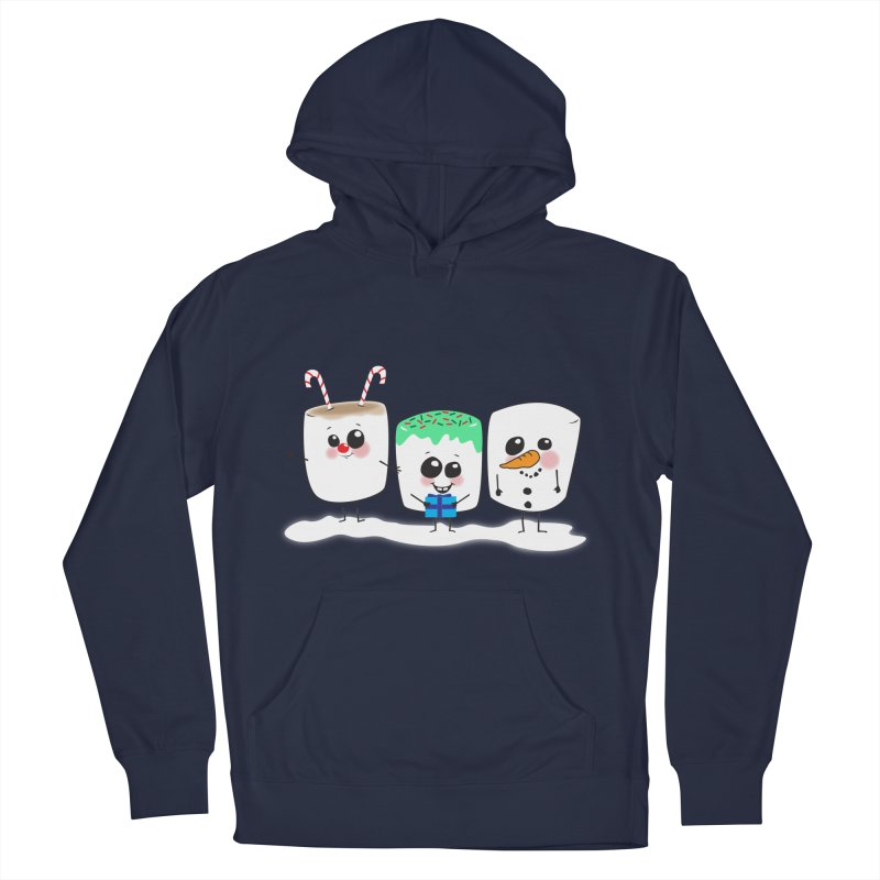 Festive Marshmallows Men's French Terry Pullover Hoody by LLUMA Creative Design