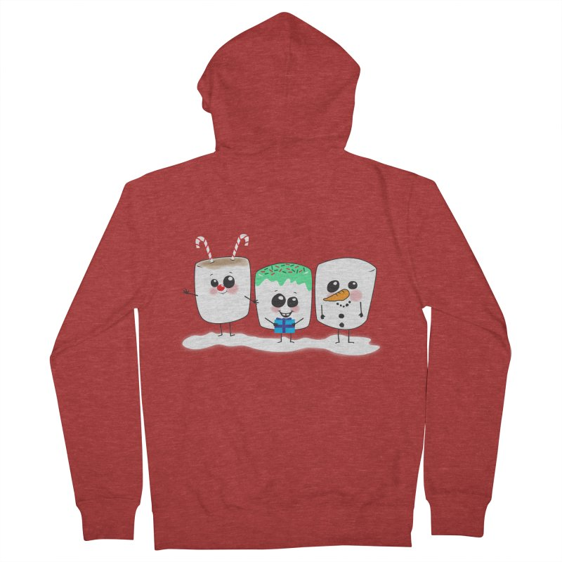 Festive Marshmallows Women's French Terry Zip-Up Hoody by LLUMA Creative Design