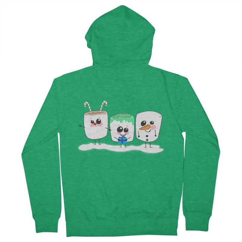 Festive Marshmallows Men's French Terry Zip-Up Hoody by LLUMA Creative Design