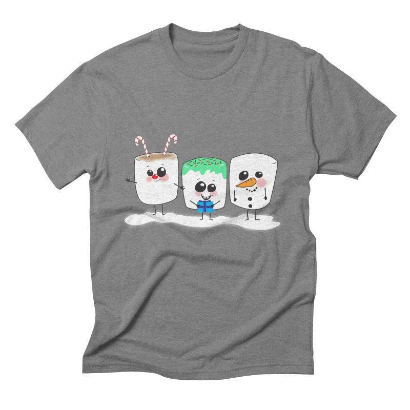 Festive Marshmallows Men's Triblend T-Shirt by LLUMA Creative Design