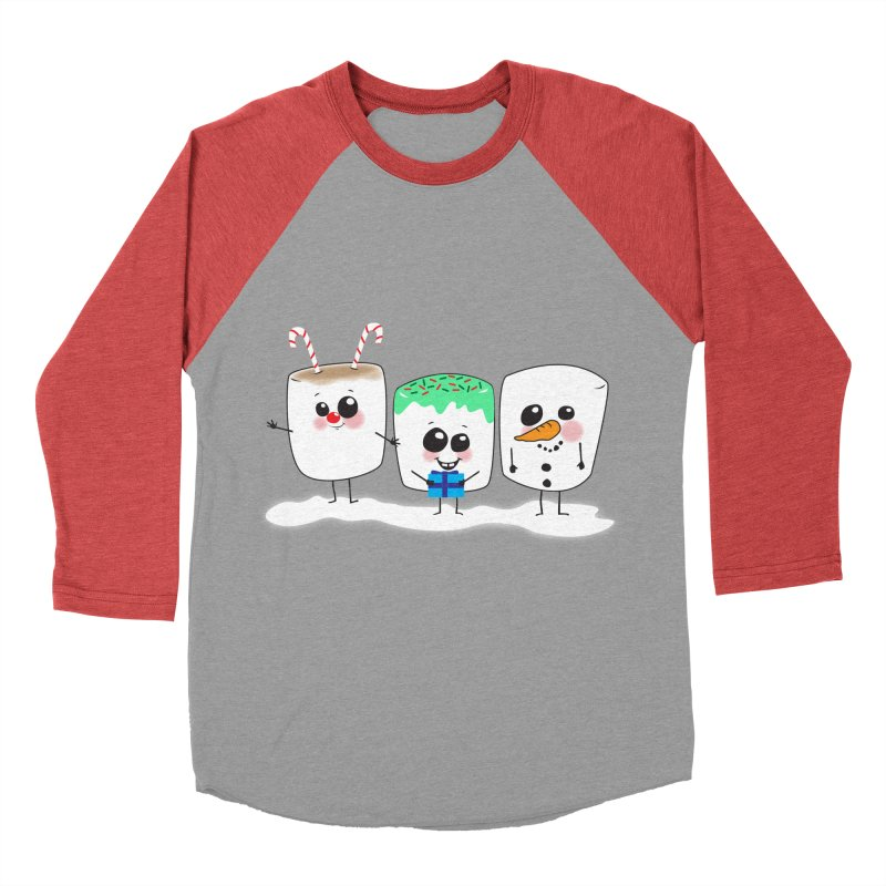 Festive Marshmallows Men's Baseball Triblend Longsleeve T-Shirt by LLUMA Creative Design