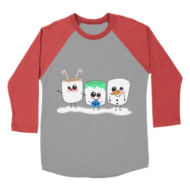 Festive Marshmallows Men's Baseball Triblend T-Shirt by LLUMA Design