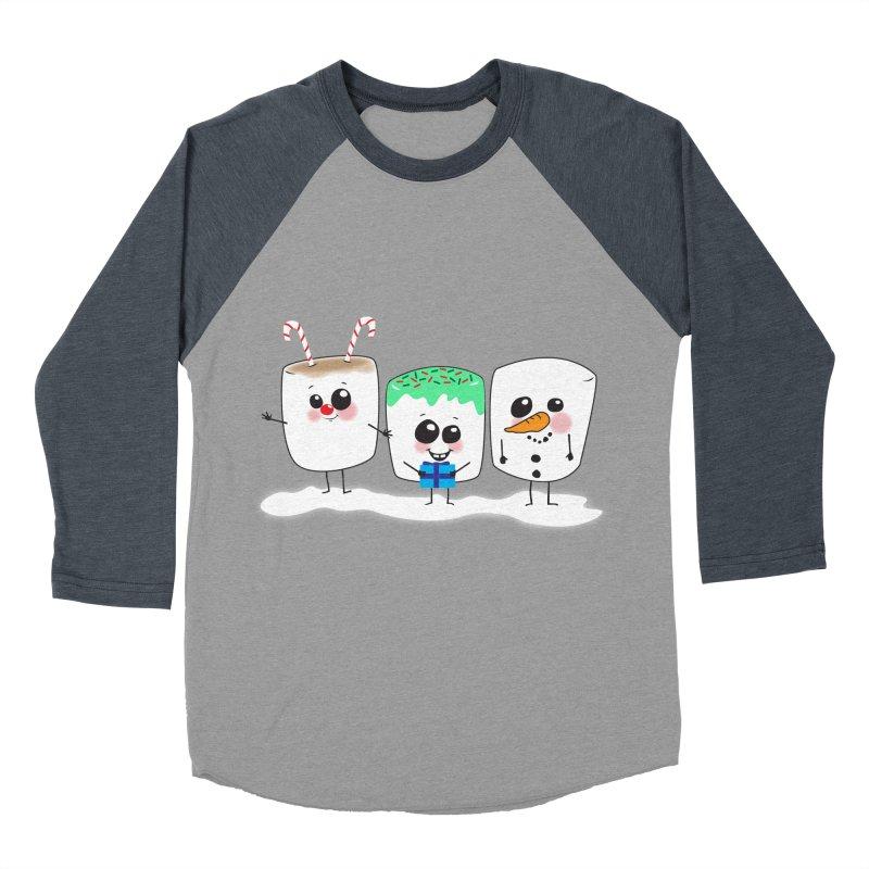 Festive Marshmallows Men's Baseball Triblend Longsleeve T-Shirt by LLUMA Creative Design
