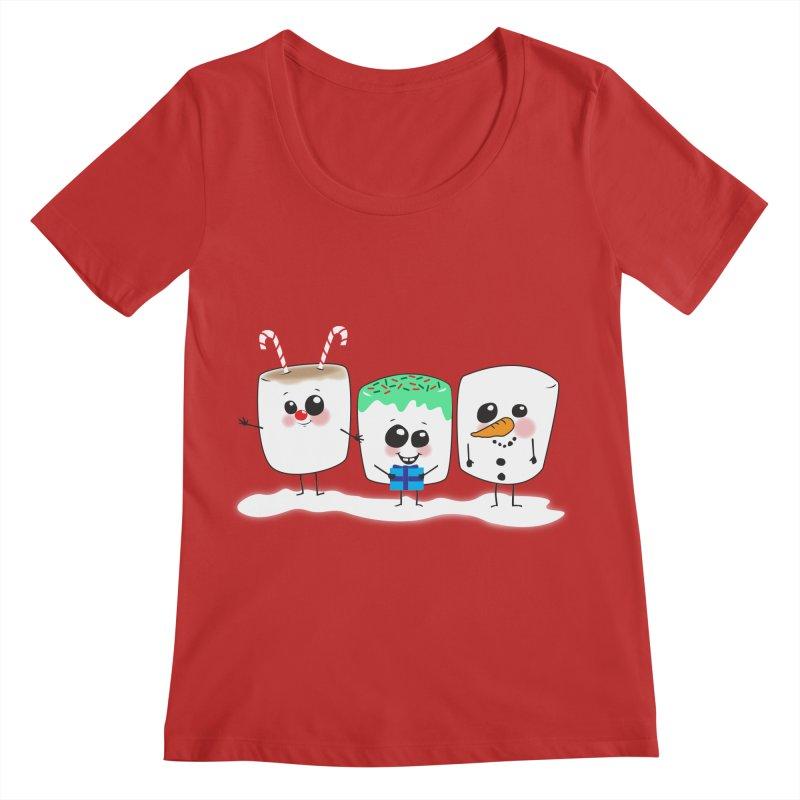 Festive Marshmallows Women's Regular Scoop Neck by LLUMA Creative Design