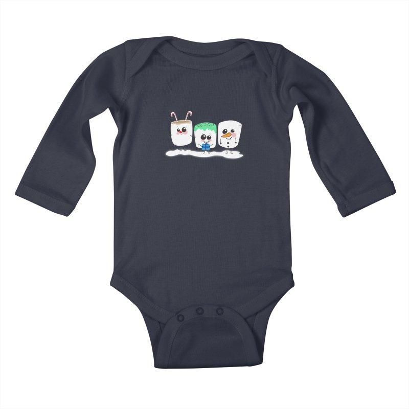 Festive Marshmallows Kids Baby Longsleeve Bodysuit by LLUMA Creative Design