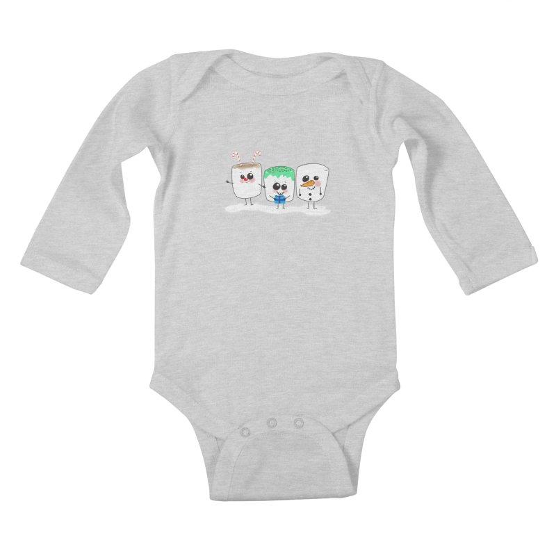 Festive Marshmallows Kids Baby Longsleeve Bodysuit by LLUMA Design