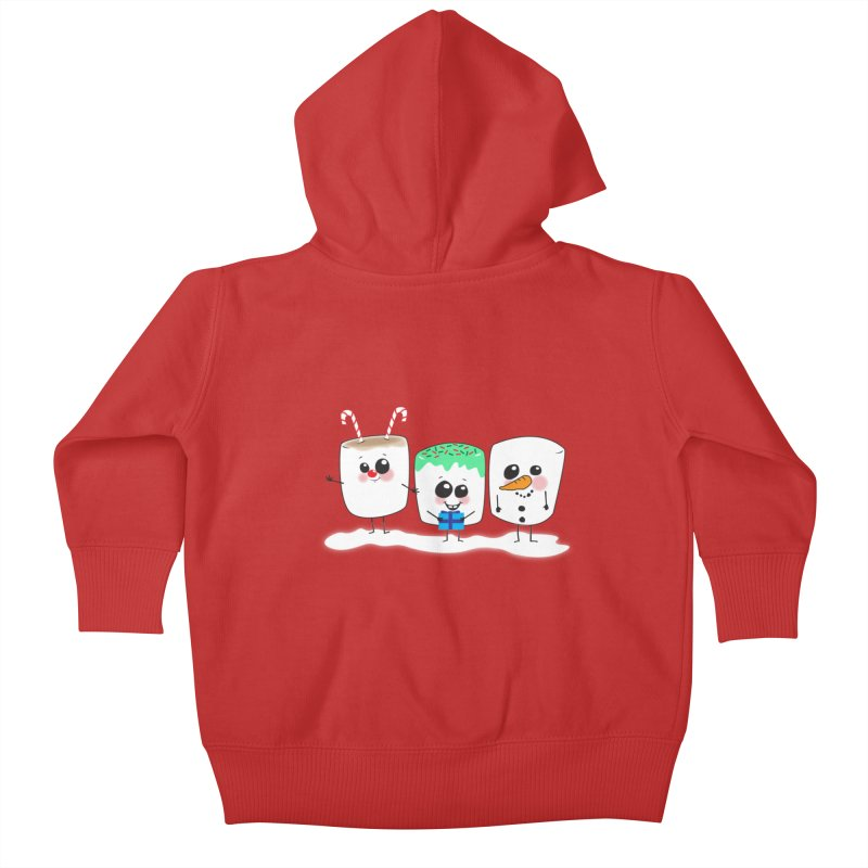 Festive Marshmallows Kids Baby Zip-Up Hoody by LLUMA Creative Design