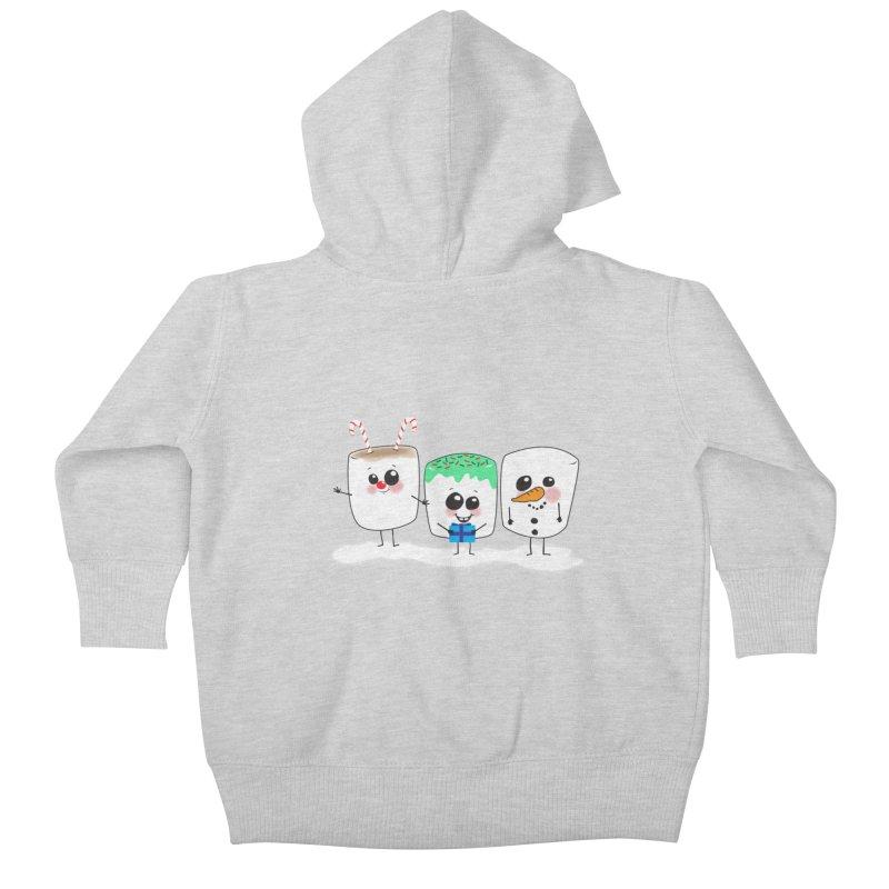 Festive Marshmallows Kids Baby Zip-Up Hoody by LLUMA Creative Design