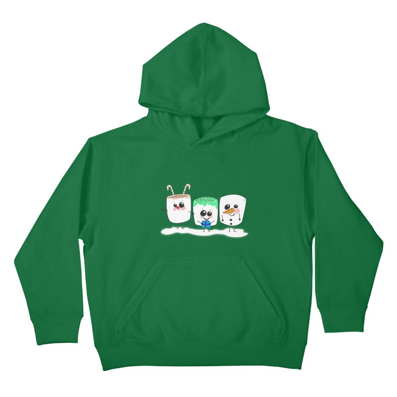 Festive Marshmallows Kids Pullover Hoody by LLUMA Creative Design