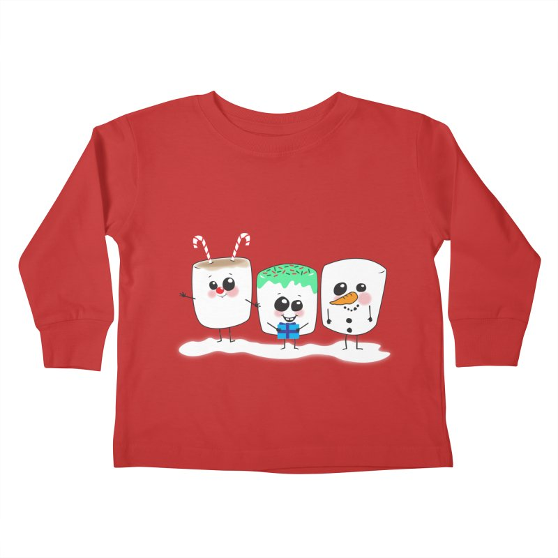 Festive Marshmallows Kids Toddler Longsleeve T-Shirt by LLUMA Creative Design