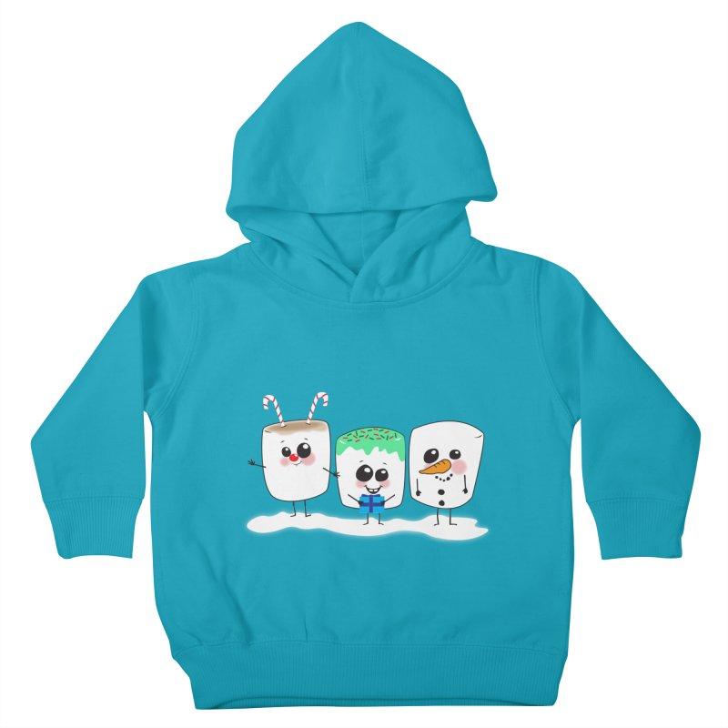Festive Marshmallows Kids Toddler Pullover Hoody by LLUMA Creative Design